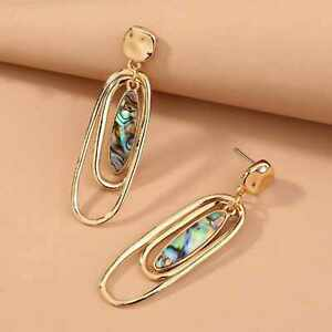 Fashion natural Retro ellipse colour Abalone shell gold ear stud Party