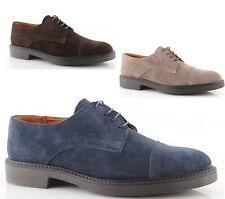 Scarpe derby uomo con puntale liscio semi brogue francesine blu marroni beige
