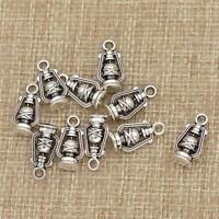 10Pcs Antique Silver 3D Lantern Charms Pendants DIY Jewelry Handcraft Supplies
