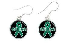 Celiac Disease Awareness Green Ribbon Circle Silver Wire Earrings Jewelry Gift