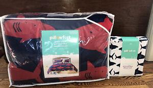 NEW! Pillowfort Great White Shark Comforter Sham Sheet FULL Set Blue Red 7 Pc