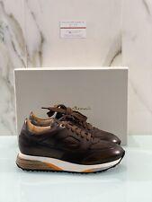 Santoni Uomo Sneaker In Pelle Marrone Luxury Casual Sneaker Super Soft 43.5