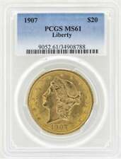1907 $20 Liberty Head Double Eagle Gold Coin PCGS MS61 100% AUTHENTIC