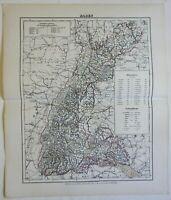Baden German Empire Heidelberg Karlsruhe 1874 Flemming detailed large map