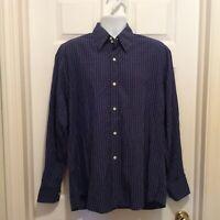 Faconnable Shirt Men's L Dark Blue White Windowpane Plaid Button Front