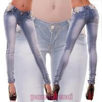 Jeans donna pantaloni elasticizzati skinny strass pizzo stretti nuovi M9918