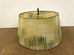 Vintage Lamp Shade fiberglass light 50s round mid century modern beige green MCM