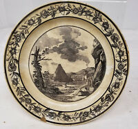 Antique Vintage Black and White Transferware Plate P & H Stamp Early Time