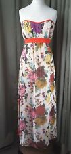 Ted Baker Strapless Empire Line Floral Butterfly Ballgown Party Dress UK12 EU40