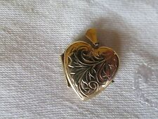 Modern 9ct Gold Heart Locket Etched Decoration