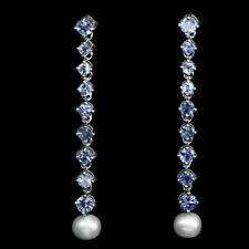 Große Ohrringe Perle Tansanit 925 Silber 585 Weißgold vergoldet