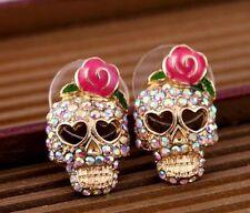 Fashion Unisex Pink Rose Rhinestone Skeleton Skull Ear Studs Earring Accessories