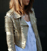 Women Beige Color Silver Spiked Studded Punk Brando Biker Leather Jacket