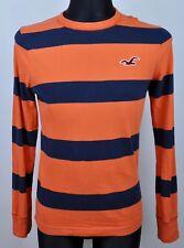 HOLLISTER T-Shirt Long Sleeved Small Men's Orange Crew Neck Striped Top S Jumper
