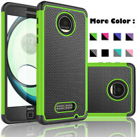 For Motorola Moto Z Play Droid Case Cover With Tempered Glass Screen Protectoer