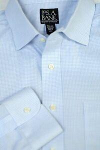 Jos A Bank Men's Travelers Light Blue Check Cotton Dress Shirt 16.5 x 35