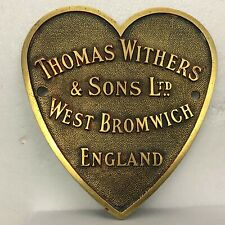 Large Antique Thomas Withers & Sons safe plate  West Bromwich  Heart Shaped