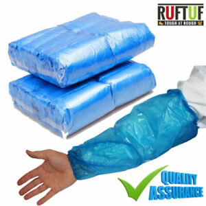 BLUE Disposable Plastic Arm Sleeves Covers Oversleeves Cleaning Protective