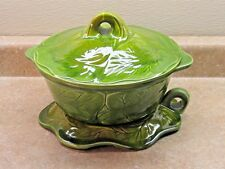 VTG CALIFORNIA ORIGINALS ORGANIC ART POTTERY Covered Dish Stand Green Glaze Drip