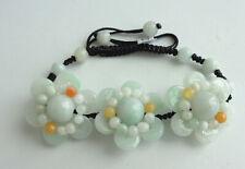 Certified Light Green 100% Natural A Jade Jadeite Hand Knitting Flowers Bracelet