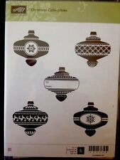"""CHRISTMAS COLLECTIBLES"" Stampin'UP! NEW~CLEAR/CLING unmounted~Ornaments~set/5"