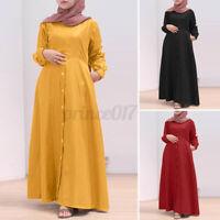 ZANZEA Women Muslim Abaya Dubai Buttons Down Long Sleeve Solid Kaftan Maxi Dress
