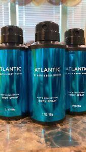 3 BATH & BODY WORKS MEN'S ATLANTIC DEODORIZING BODY SPRAY Mist 3.7