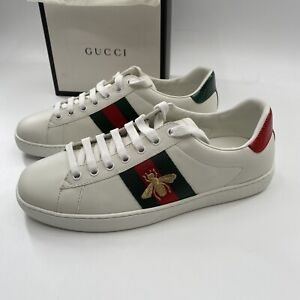 Gucci Ace Embroidered Sneakers Bee White/Red/Green Men's Size 8 New In Box