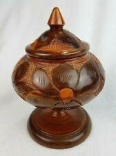 """Vintage Hand Carved Wood Pedestal Bowl Lidded Canister Jar Etched Wooden Urn 8"""""""