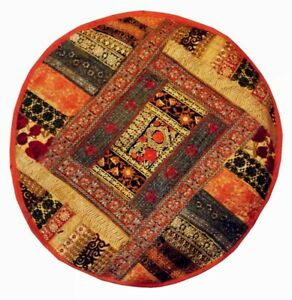 """33% OFF 25"""" VIBRANT OTTOMAN POUF KUNDAN FOOTSTOOL FURNITURE CHAIR PILLOW COVER"""