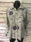 Haband for Her Vintage Blouse Top Shirt Short Sleeve Floral Button Up Size Small