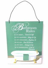 Bathroom Rules Hanging Wall Sign Decor
