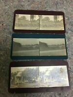 Three Privately Made Vintage Stereoviews-Hagerstwon, MD-Rose Hill Cemetery-Town