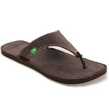 NEW sanuk 5.5 6 37 SANDAL FLIP FLOP SHOE LEATHER Mosey Up Arch Support Brown