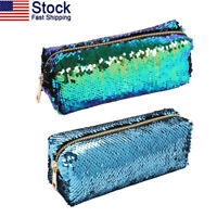 US Reversible Double Color Cosmetic Bag Mermaid Sequin Handbag Pencil Pouch Gift