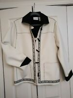 Alfred Dunner off white faux suede embroidered short jacket. Sz 12. Pre-owned