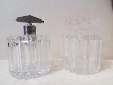2 anciens flacons en cristal taillé atomiseur pot a sel parfum epoque 1930