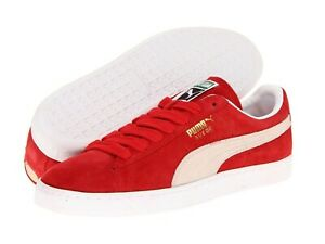 Men's Shoes PUMA SUEDE CLASSIC Casual Lace Up Sneakers 352634-65 RED WHITE