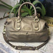 Coach Ashley Metallic Leather Carryall Handbag Purse Bronze Shoulder Bag