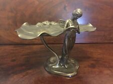 Art Nouveau Bronzed Spirit of Ecstasy Maiden CALLING CARD TRAY c1900 ~ 1.9 Kg