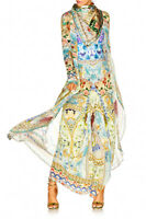 new CAMILLA FRANKS SILK SWAROVSKI SIGN OF PEACE LONG JACKET COAT KAFTAN