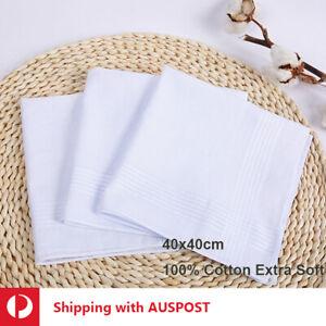Women Bulk Sale 100% Pure White Cotton Large Handkerchief Soft Hanky Pocket 40cm
