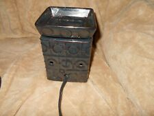 SCENTSY FLL SIZE WARMER DARK GREEN AND BROWN SQUARE WITH CIRCLES
