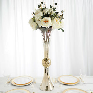"""2 CHROME OMBRE GOLD 30"""" tall Reversible Trumpet Glass Wedding Vases Centerpieces"""
