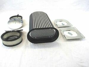 Hillborn Style Dual Quad Finned Aluminum Carb Scoop Black E40008BK