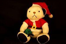"Christmas Teddy Bear Toy Bag White Santa Lovey 10"" Stuffed Animal Plush"