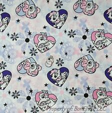 BonEful FABRIC FQ Cotton Quilt White Pink Purple MY LITTLE PONY Girl Heart Horse