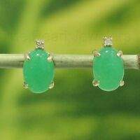 14k Solid Yellow Gold set 2 Diamonds Popular oval Green Jade stud Earrings TPJ