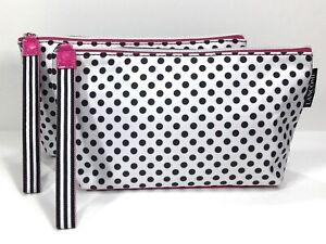 2pc Lancôme Polkadot Makeup Bag in Pink, White & Black