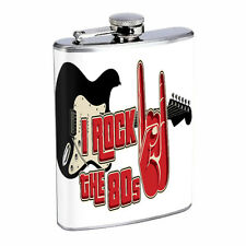 80's Images D9 Flask 8oz Stainless Steel Hip Drinking Whiskey I Rock the 80's